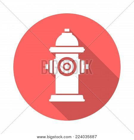 Fire Hydrant Circle Icon With Long Shadow. Flat Design Style. Fire Hydrant Simple Silhouette. Modern