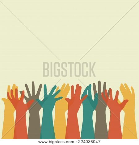vector  illustration of a group people hands up, volunteer or voting concept background, human hand
