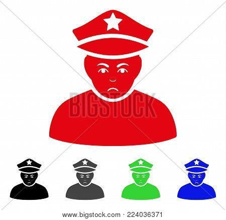 Pitiful Army General vector pictogram. Vector illustration style is a flat iconic army general symbol with grey, black, blue, red, green color versions. Face has stress expression.