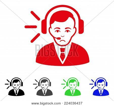 Sad Call Center Operator vector pictograph. Vector illustration style is a flat iconic call center operator symbol with grey, black, blue, red, green color versions. Face has grief mood.