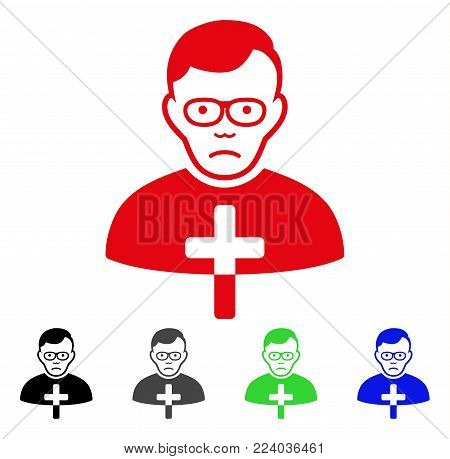 Pitiful Catholic Shepherd vector icon. Vector illustration style is a flat iconic catholic shepherd symbol with gray, black, blue, red, green color variants. Face has sadness feeling.