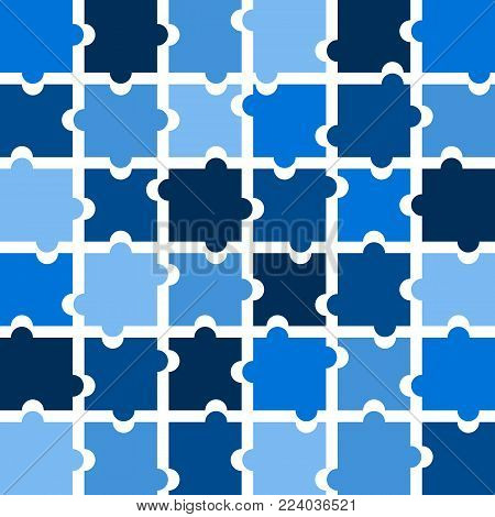 Jigsaw puzzle pieces background vector in shades of blue with white space between each puzzle piece
