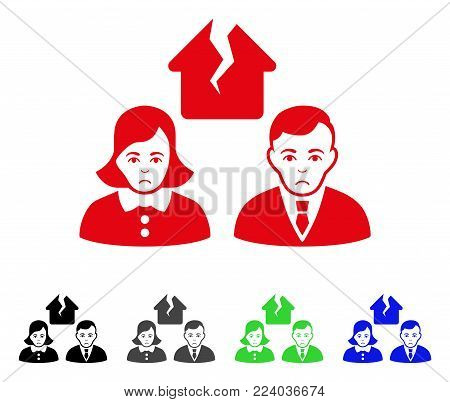 Sadly Divorce People vector icon. Vector illustration style is a flat iconic divorce people symbol with grey, black, blue, red, green color variants. Face has dolour emotions.