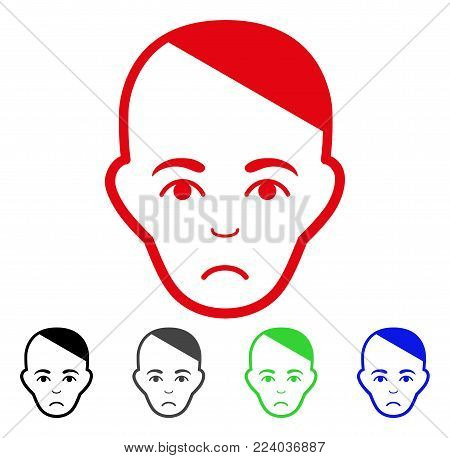 Unhappy Patient Head vector pictogram. Vector illustration style is a flat iconic patient head symbol with gray, black, blue, red, green color versions. Face has sadness emotion.