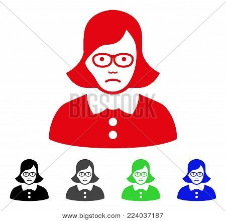 Sadly Teacher Lady vector icon. Vector illustration style is a flat iconic teacher lady symbol with gray, black, blue, red, green color variants. Face has grief expression.