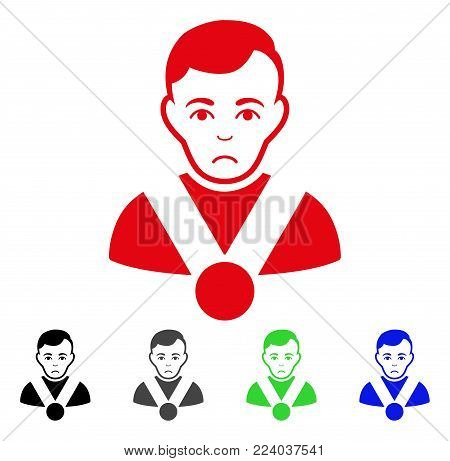 Unhappy Champion vector pictogram. Vector illustration style is a flat iconic champion symbol with grey, black, blue, red, green color variants. Face has depression sentiment.