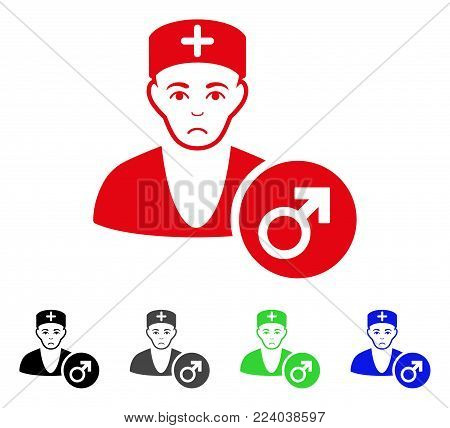 Dolor Andrologist Doctor vector pictograph. Vector illustration style is a flat iconic andrologist doctor symbol with gray, black, blue, red, green color variants. Face has depression sentiment.