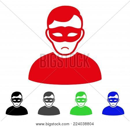 Pitiful Anonymous Person vector pictograph. Vector illustration style is a flat iconic anonymous person symbol with grey, black, blue, red, green color versions. Face has pitiful feeling.