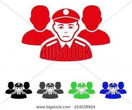 Sadly Army Team vector pictogram. Vector illustration style is a flat iconic army team symbol with gray, black, blue, red, green color versions. Face has stress mood.