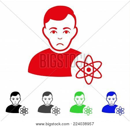 Dolor Atomic Scientist vector pictograph. Vector illustration style is a flat iconic atomic scientist symbol with gray, black, blue, red, green color versions. Face has depressed feeling.