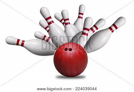 Red bowling ball striking against pins in a ten-pin bowling game. Isolated on white background.