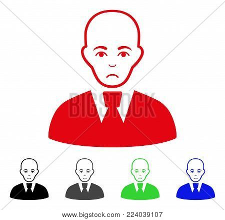 Sadly Bald Clerk vector pictograph. Vector illustration style is a flat iconic bald clerk symbol with gray, black, blue, red, green color versions. Face has affliction emotions.