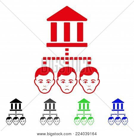 Pitiful Bank Clients vector pictogram. Vector illustration style is a flat iconic bank clients symbol with gray, black, blue, red, green color versions. Face has grief sentiment.