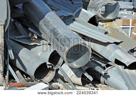 Iron material waste on building construction site