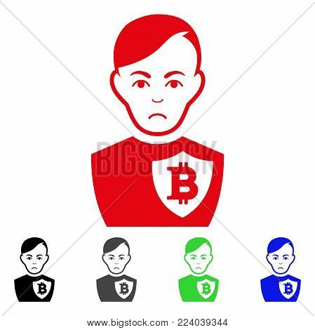Unhappy Bitcoin Police Officer vector pictogram. Vector illustration style is a flat iconic bitcoin police officer symbol with grey, black, blue, red, green color versions. Face has unhappy emotion.