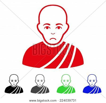 Dolor Buddhist Monk vector pictograph. Vector illustration style is a flat iconic buddhist monk symbol with grey, black, blue, red, green color variants. Face has problem emotions.