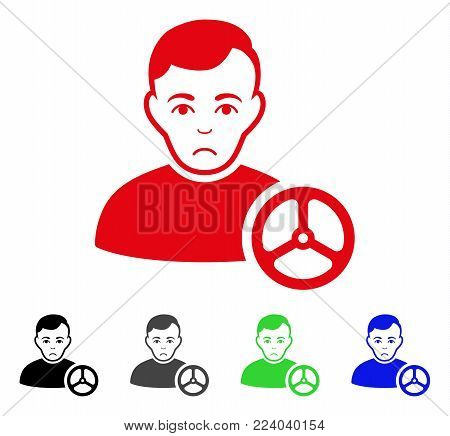 Dolor Car Driver vector icon. Vector illustration style is a flat iconic car driver symbol with gray, black, blue, red, green color versions. Face has mourning sentiment.