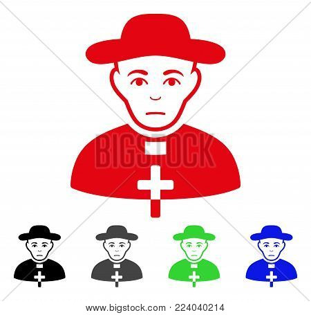 Sadly Catholic Shepherd vector pictogram. Vector illustration style is a flat iconic catholic shepherd symbol with gray, black, blue, red, green color variants. Face has problem feeling.