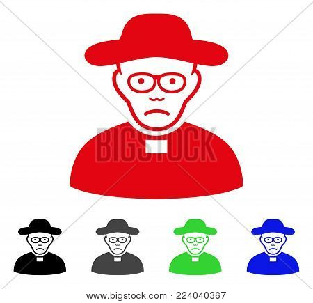 Pitiful Church Shepherd vector icon. Vector illustration style is a flat iconic church shepherd symbol with gray, black, blue, red, green color versions. Face has unhappy emotion.