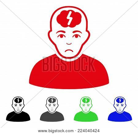Pitiful Clever Boy vector pictogram. Vector illustration style is a flat iconic clever boy symbol with grey, black, blue, red, green color versions. Face has affliction emotion.