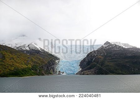 Cruising in Glacier Alley - Patagonia Argentina - Landscape of beautiful mountains glaciers and waterfall