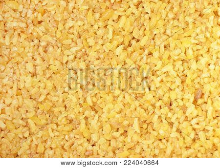 Close up of dried bulgur as background