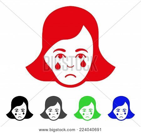 Sad Crying Woman Face vector pictogram. Vector illustration style is a flat iconic crying woman face symbol with grey, black, blue, red, green color versions. Face has mourning emotions.