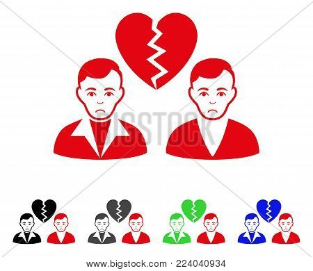 Unhappy Divorce Gays vector pictograph. Vector illustration style is a flat iconic divorce gays symbol with grey, black, blue, red, green color variants. Face has sadness emotion.