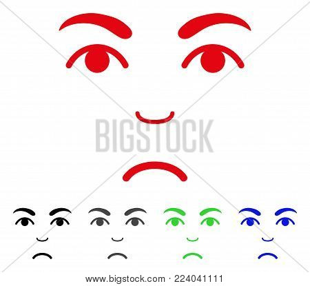 Sad Face vector pictogram. Vector illustration style is a flat iconic face symbol with gray, black, blue, red, green color variants. Face has stress emotion.