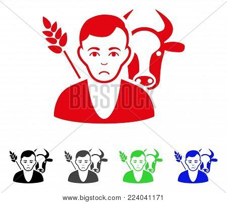Sad Farmer vector pictograph. Vector illustration style is a flat iconic farmer symbol with grey, black, blue, red, green color versions. Face has unhappy emotion.