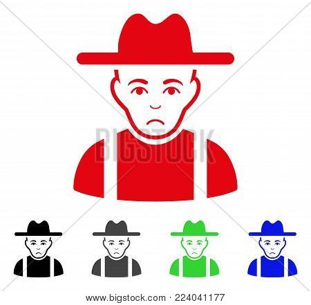 Unhappy Farmer Guy vector icon. Vector illustration style is a flat iconic farmer guy symbol with gray, black, blue, red, green color versions. Face has grief emotion.