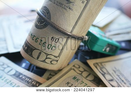 Protect Your Money With Cable Lock Around Twenties Stock Photo High Quality