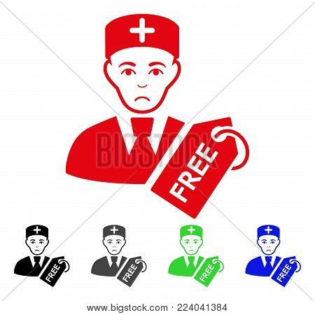 Unhappy Free Doctor vector icon. Vector illustration style is a flat iconic free doctor symbol with gray, black, blue, red, green color versions. Face has sadly emotions.