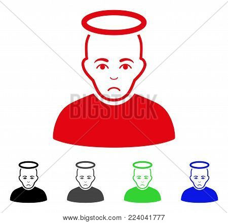 Unhappy Holy Man vector icon. Vector illustration style is a flat iconic holy man symbol with grey, black, blue, red, green color versions. Face has affliction emotions.