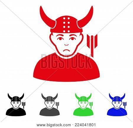Pitiful Horned Warrior vector icon. Vector illustration style is a flat iconic horned warrior symbol with gray, black, blue, red, green color versions. Face has sad emotion.