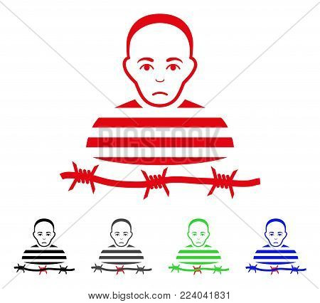 Dolor Isolated Prisoner vector pictogram. Vector illustration style is a flat iconic isolated prisoner symbol with gray, black, blue, red, green color versions. Face has pitiful expression.