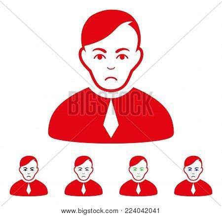 Pitiful Loyer vector pictogram. Vector illustration style is a flat iconic loyer symbol with gray, black, blue, red, green color variants. Face has grief emotion.