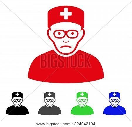 Dolor Medical Specialist vector pictogram. Vector illustration style is a flat iconic medical specialist symbol with grey, black, blue, red, green color variants. Face has sad feeling.
