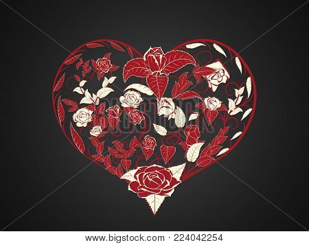 Stylized Valentine heart harvested from twisted branches intertwining of roses leaves and buds are dark red on a dark background. For decoration greetings for Valentines day