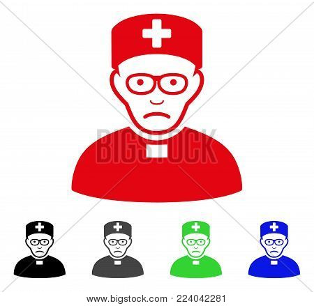 Dolor Monastic Doctor vector icon. Vector illustration style is a flat iconic monastic doctor symbol with grey, black, blue, red, green color versions. Face has sadness feeling.