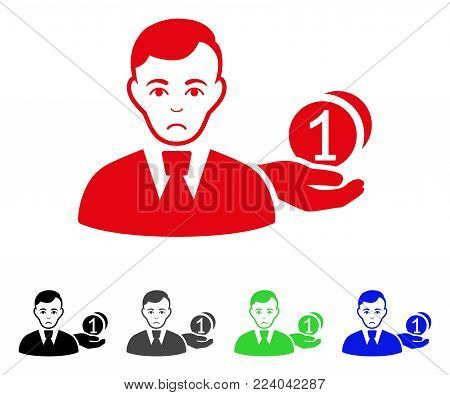 Dolor Money Payer vector pictogram. Vector illustration style is a flat iconic money payer symbol with gray, black, blue, red, green color variants. Face has affliction sentiment.
