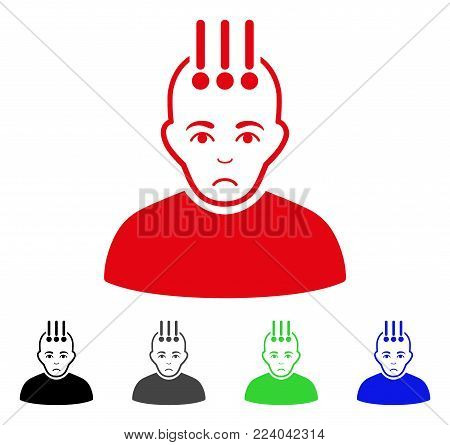 Dolor Neural Interface vector icon. Vector illustration style is a flat iconic neural interface symbol with gray, black, blue, red, green color versions. Face has sadness mood.