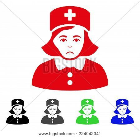 Unhappy Nurse vector icon. Vector illustration style is a flat iconic nurse symbol with grey, black, blue, red, green color variants. Face has affliction expression.