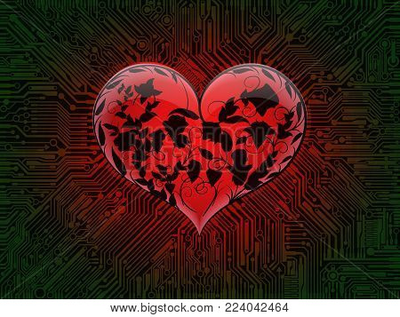 Surround glowing glass red heart with the contours of intertwined leaves and flowers of roses on the background of a computer circuit Board with green tracks. Design combines the technical elements and the theme of Valentine's day