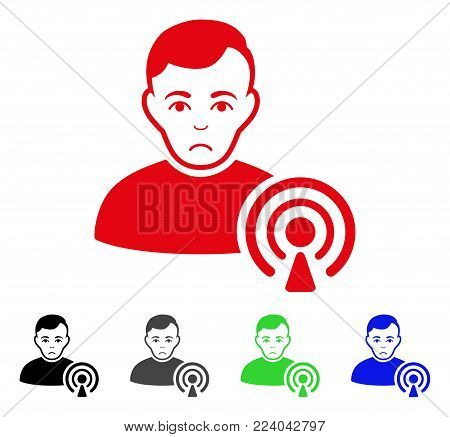 Sadly Podcast Creator vector pictogram. Vector illustration style is a flat iconic podcast creator symbol with grey, black, blue, red, green color versions. Face has depressed mood.