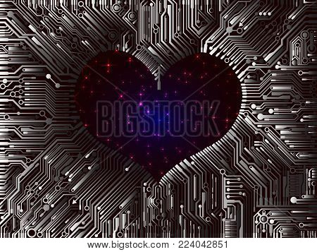 Abstract futuristic image from interlocking multi-layer PCB with a hole in the shape of a heart in the centre with views of the sparkling stars of the UV space