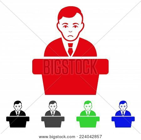 Sadly Politician vector pictograph. Vector illustration style is a flat iconic politician symbol with gray, black, blue, red, green color variants. Face has sadness mood.