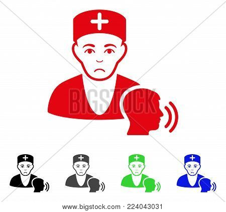 Sad Psychotherapist Doctor Visit vector icon. Vector illustration style is a flat iconic psychotherapist doctor visit symbol with gray, black, blue, red, green color variants.