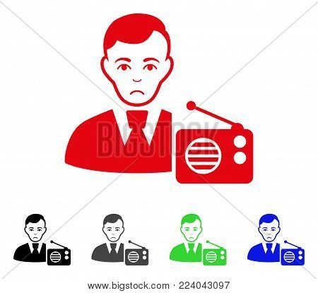 Pitiful Radio Dictor vector pictogram. Vector illustration style is a flat iconic radio dictor symbol with gray, black, blue, red, green color versions. Face has mourning emotions.