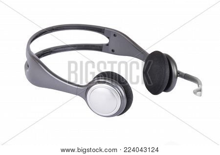Headphones with microphone, isolated on white background